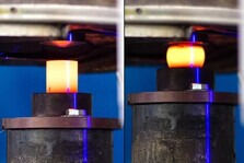 Glowing conical tube specimen before and after upsetting