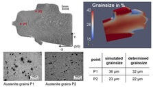 Comparison of grain size during simulation and practical experiments