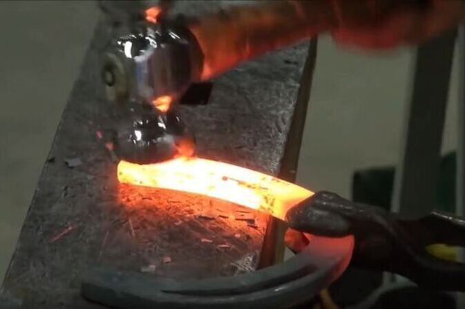 Forging of a horse shoe